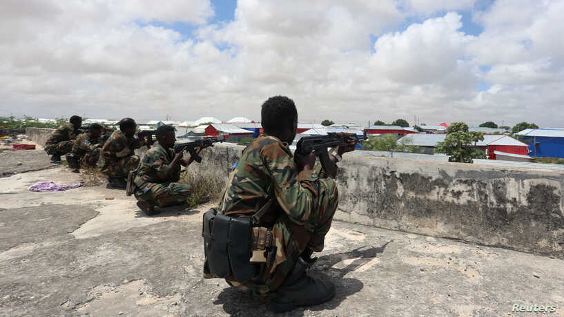 Three soldiers killed as rival Somali forces clash in Mogadishu.