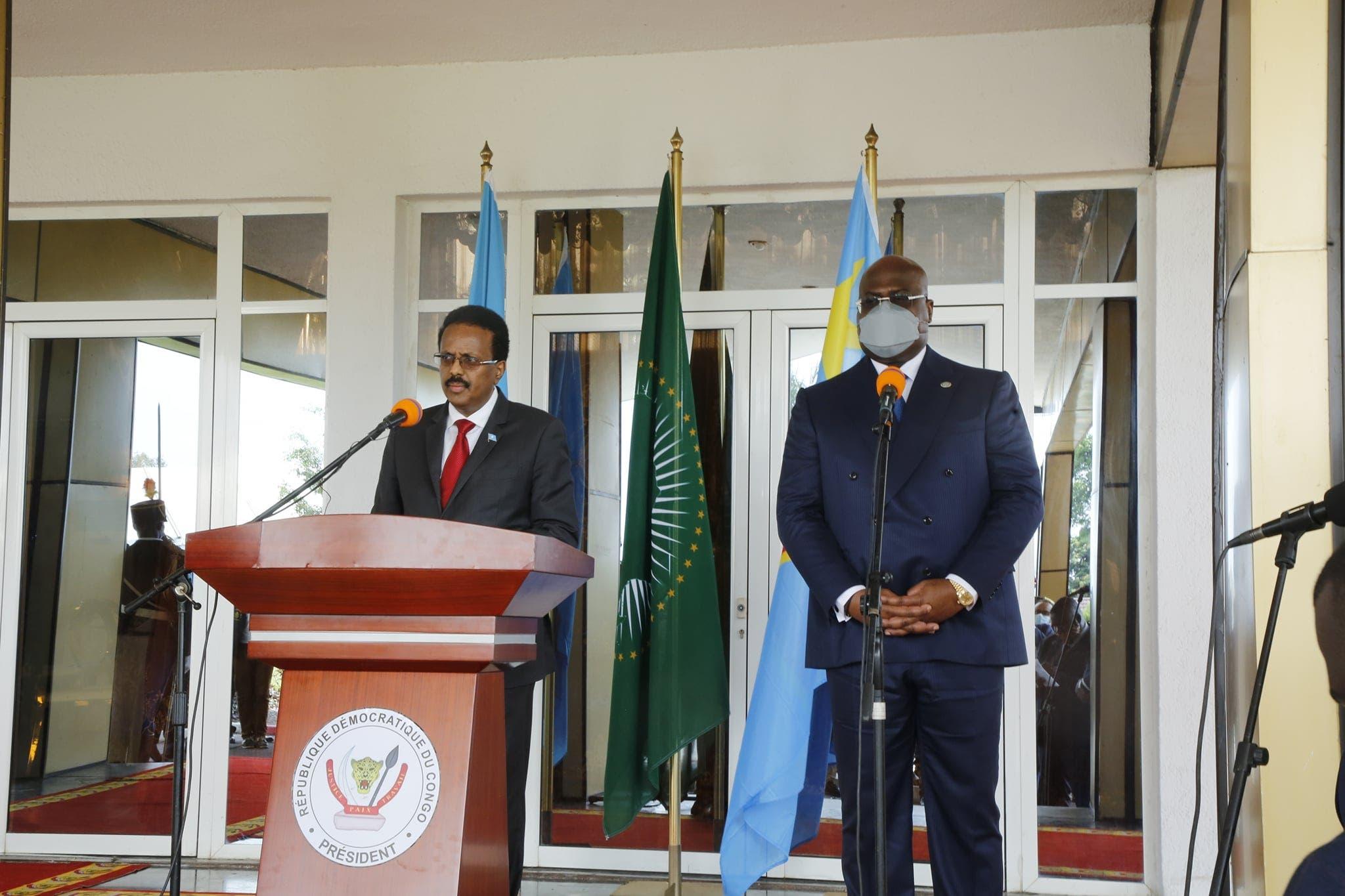 Sawirro: Villa Somalia oo war kasoo saartay kulanka Farmaajo iyo Felix Tshisekedi